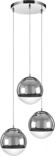 Triple pendant lamp Gino chrome E27 60W