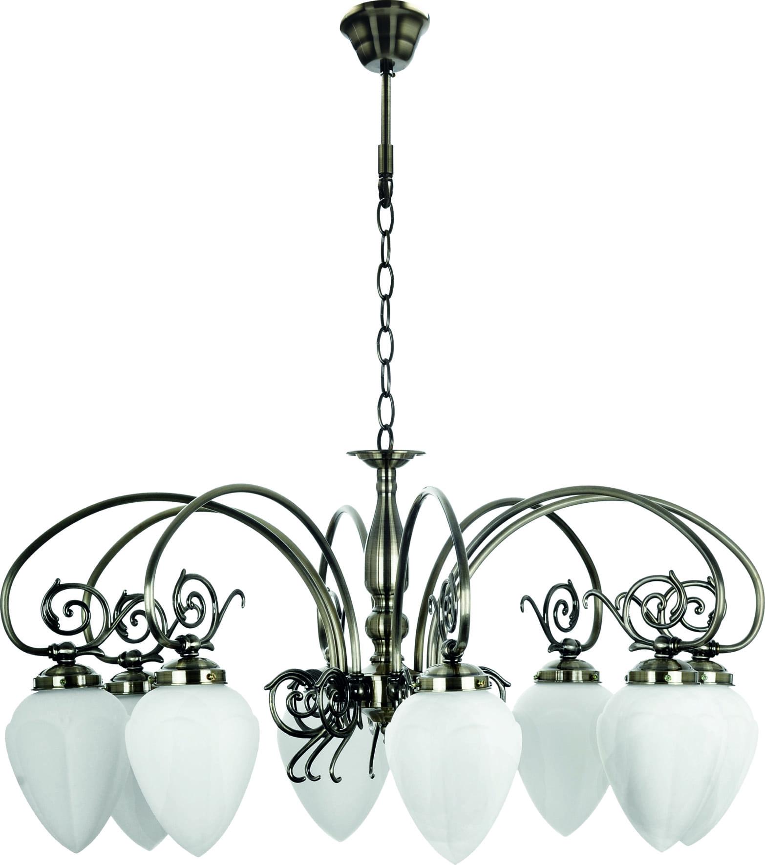 Eight-point chandelier Bossa patina / white E14 60W