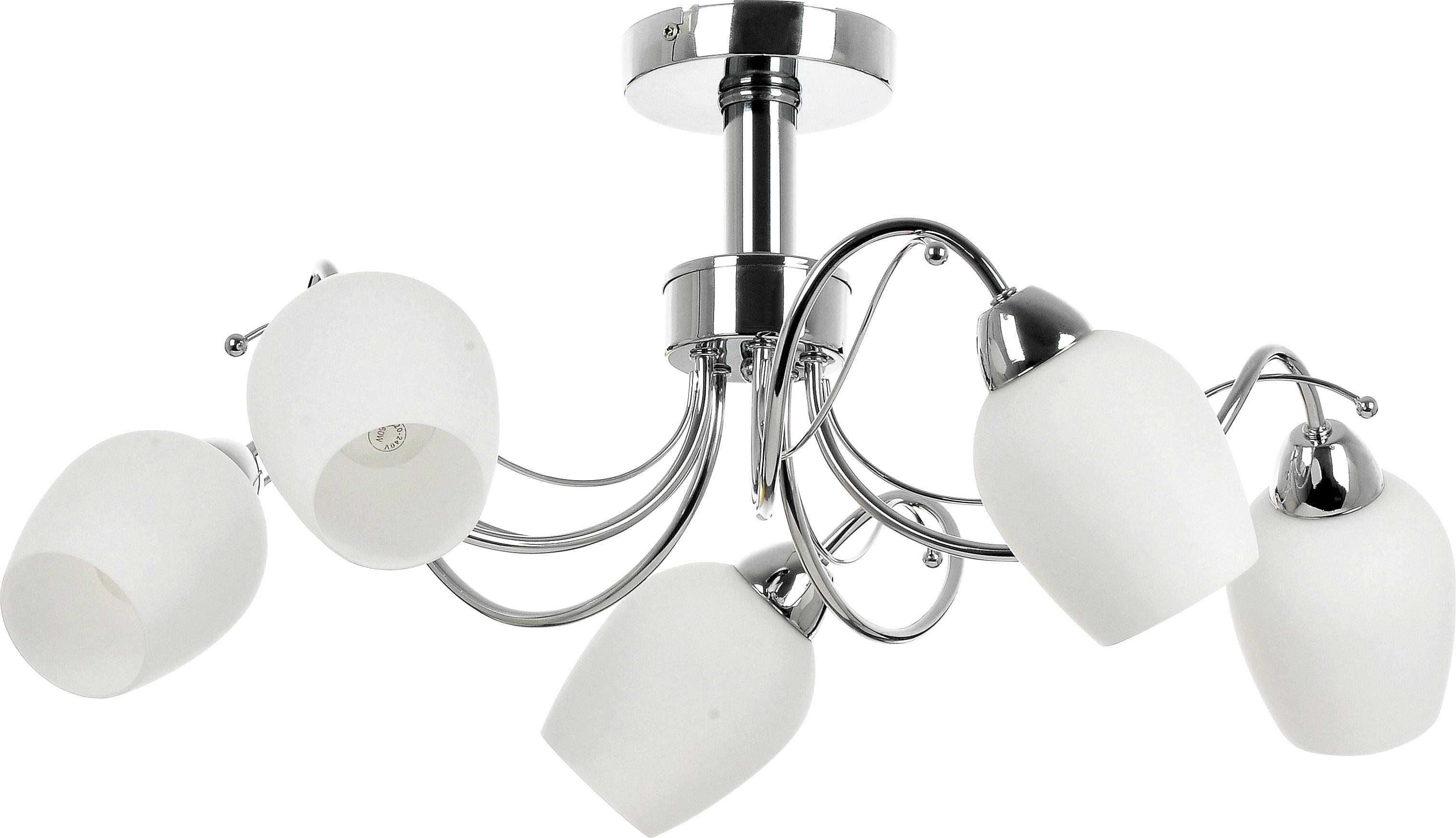 5-point chandelier Junko white E27 60W lenses