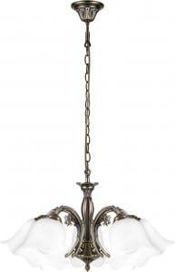 Classic 5-arm Dolores Chandelier with white shades small 0