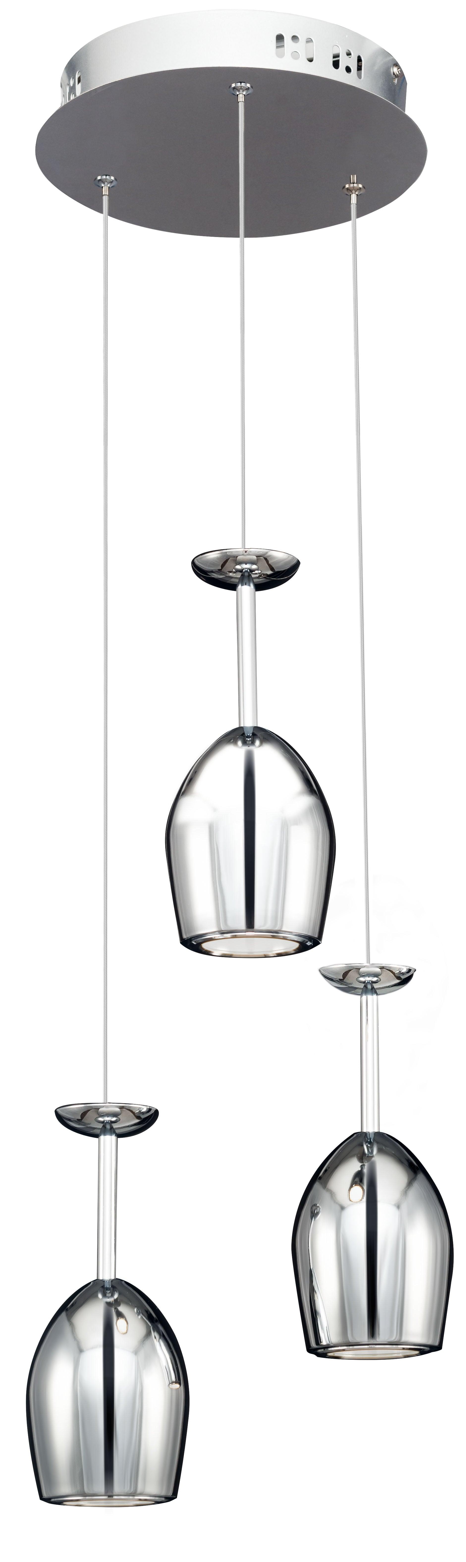 Triple modern hanging lamp Merlot chrome LED 5W