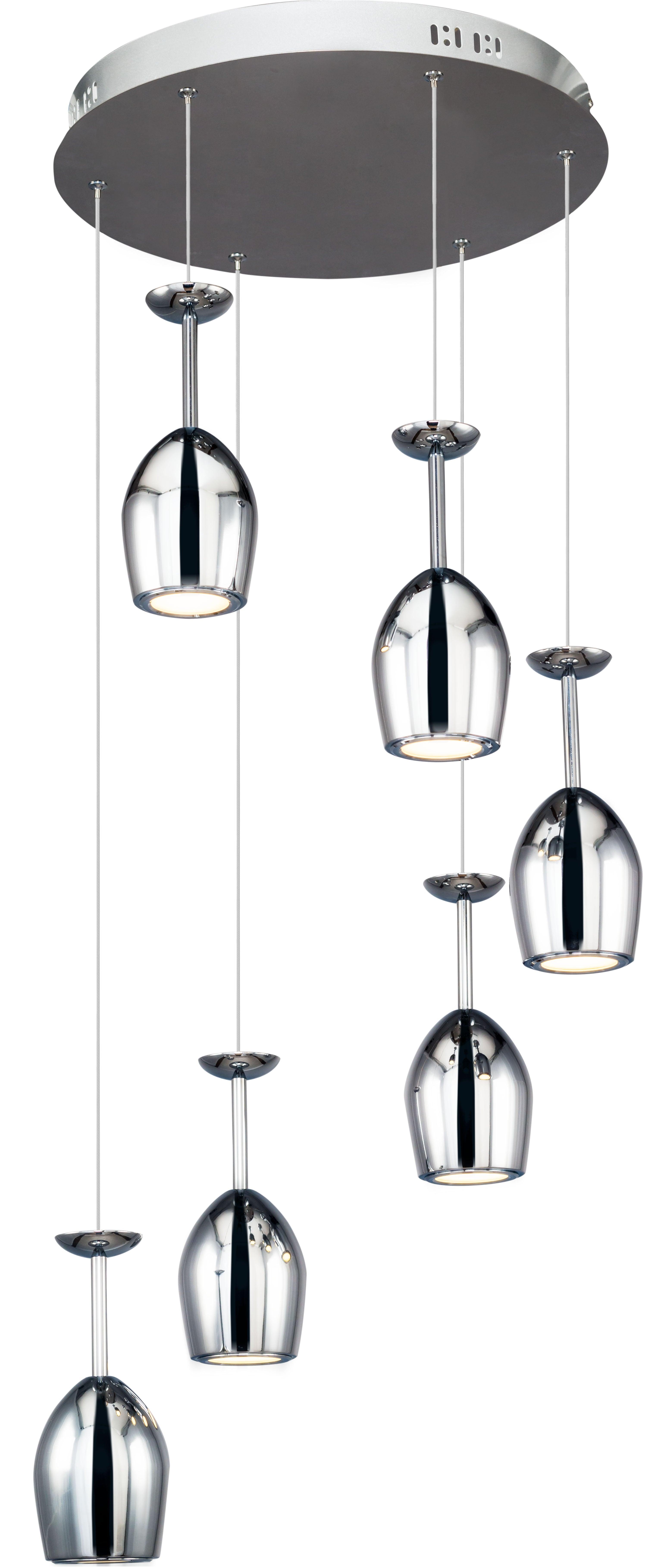 Six-point LED pendant lamp Merlot chrome LED 5W