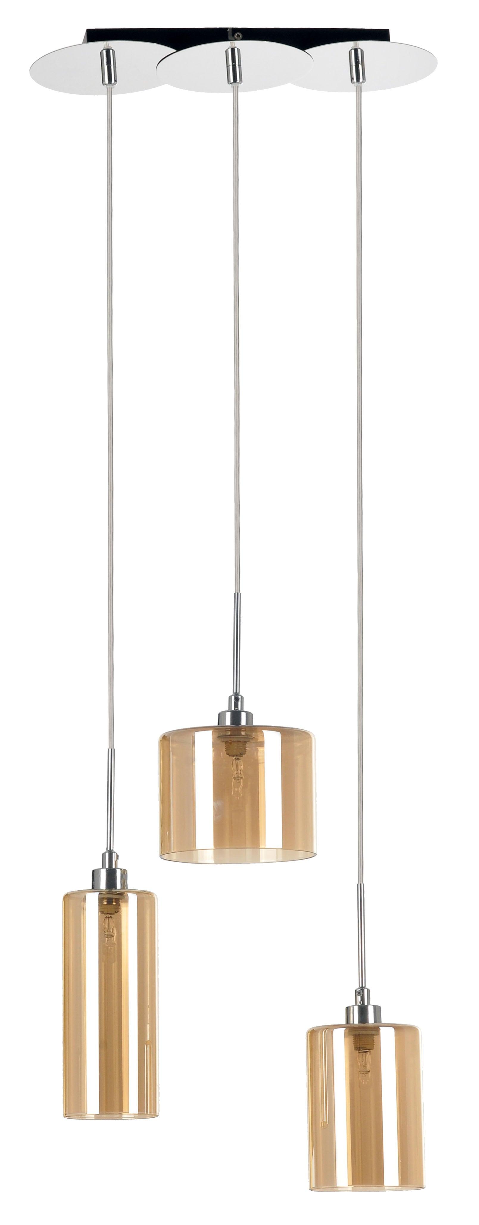 Hanging lamp Eurybia triple chrome / champagne G9 28W