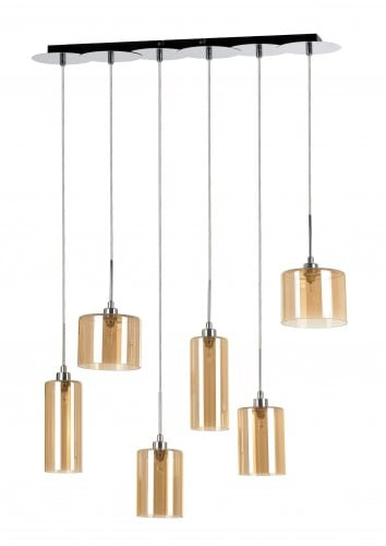 Hanging lamp Eurybia six-point chrome / champagne G9 28W