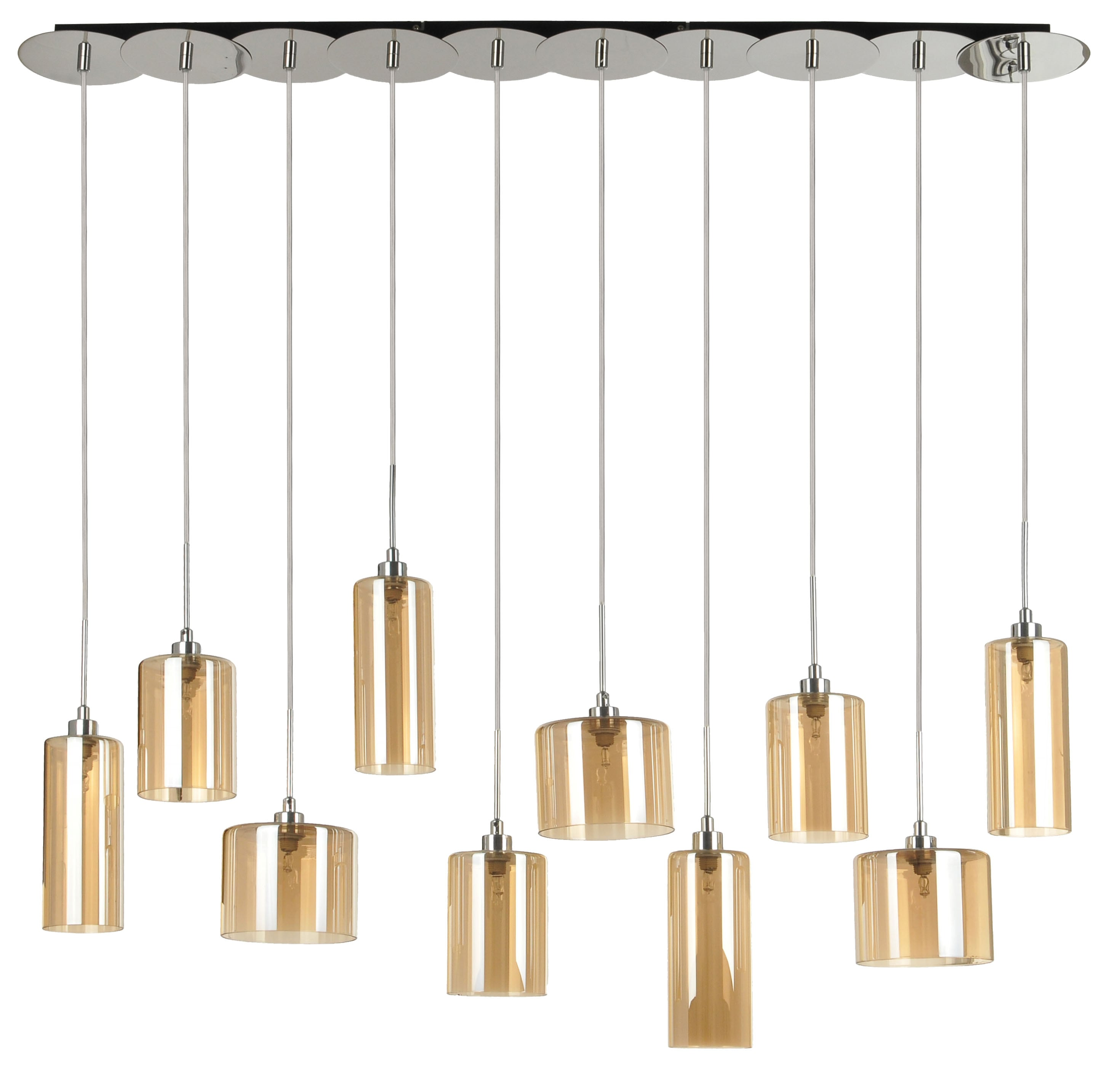 Hanging lamp Eurybia ten-point chrome / champagne G9 28W