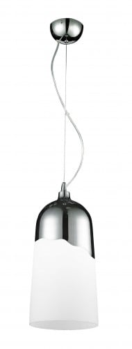 Modern hanging lamp Daga Klosz-chrome / white E27 60W