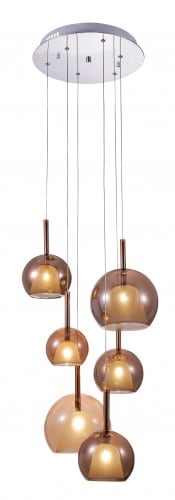 Six-point pendant lamp Bellezia chrome / copper G4 20W