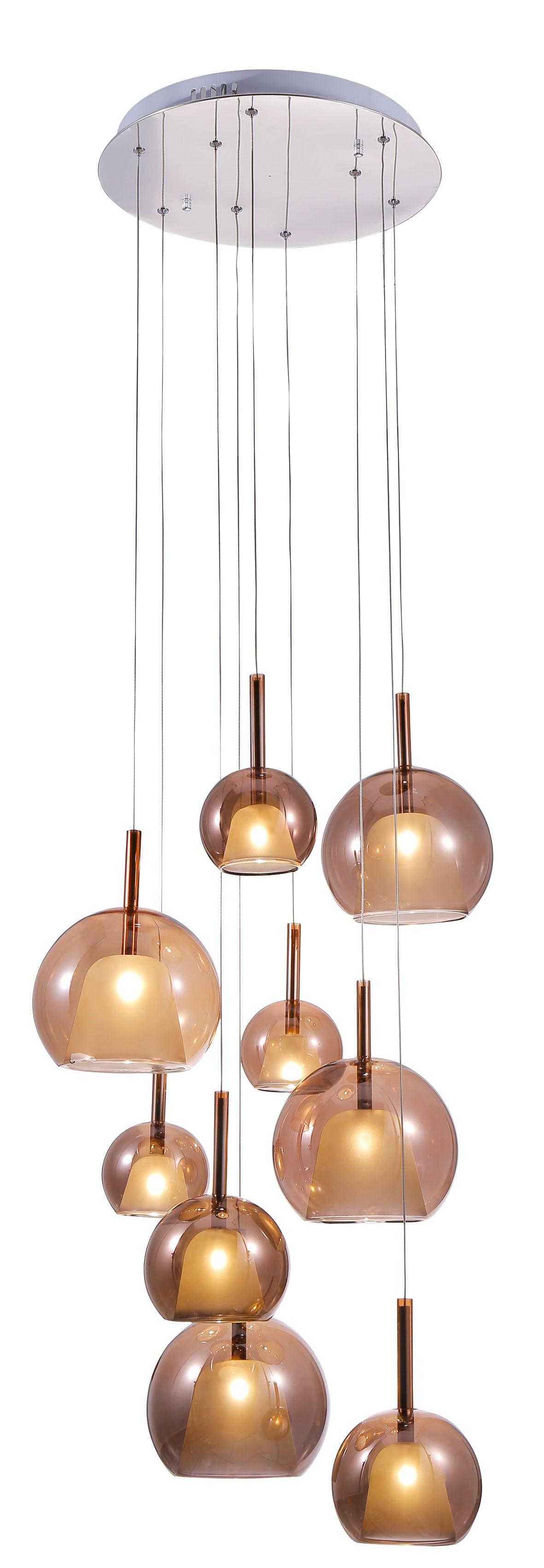 Nine-point pendant lamp Bellezia chrome / copper G4 20W