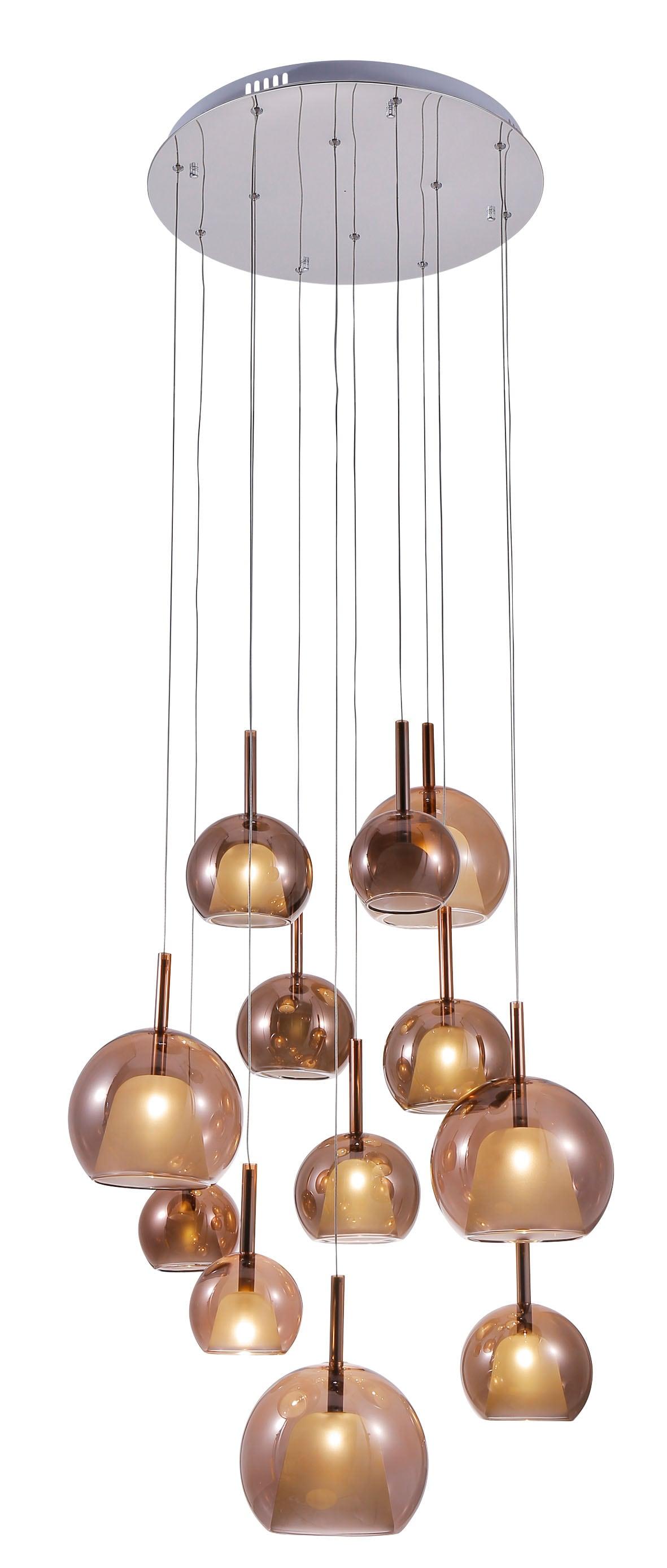 Twelve-point pendant lamp Bellezia chrome / copper G4 20W