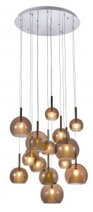 Pietnastopunktowa Lampa wisząca Glamour Bellezia chrom/ miedź G4 20W
