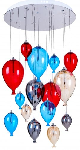 Dziecięca lampa wisząca balony - Balloon multikolor 160cm/50cm 15xG4 20W