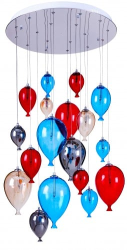 Eight-point children's hanging ballon lamp - Balloon multicolor 160cm / 60cm 18xG4 20W
