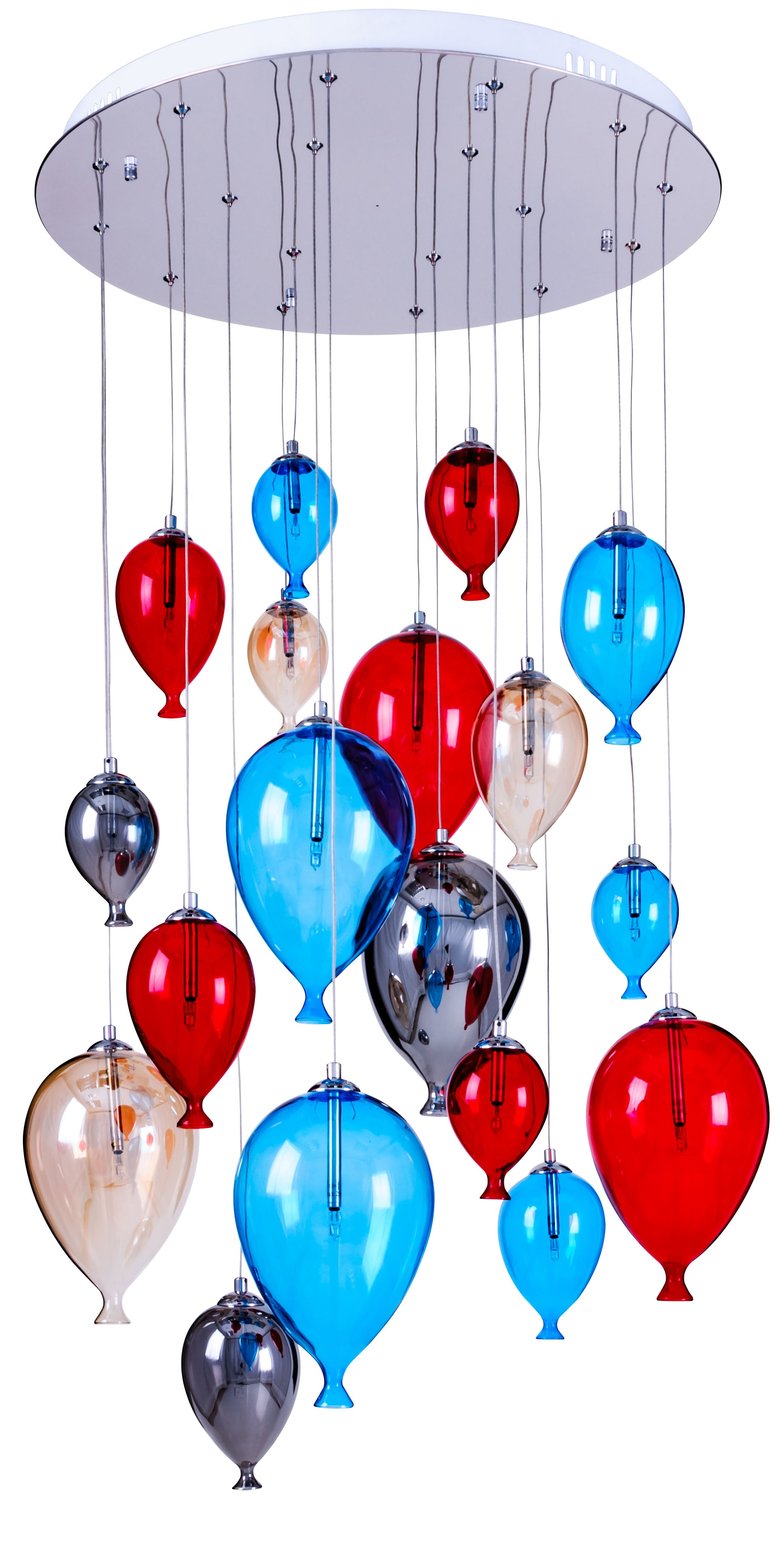 Eight-point children's hanging ballon lamp - Balloon multicolor 160cm / 60cm 18xG4 20W