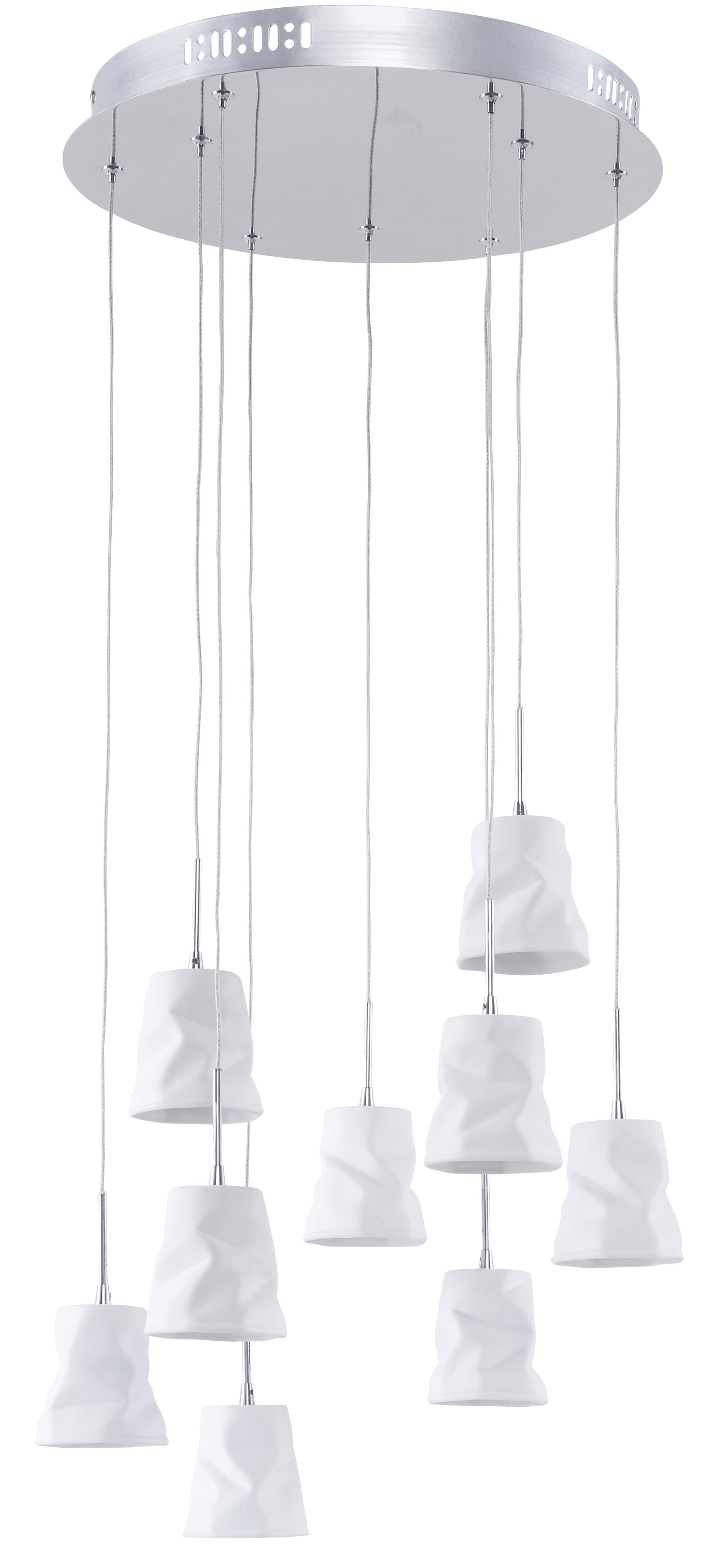 Nine-point pendant lamp Joelle chrom / white G4 20W