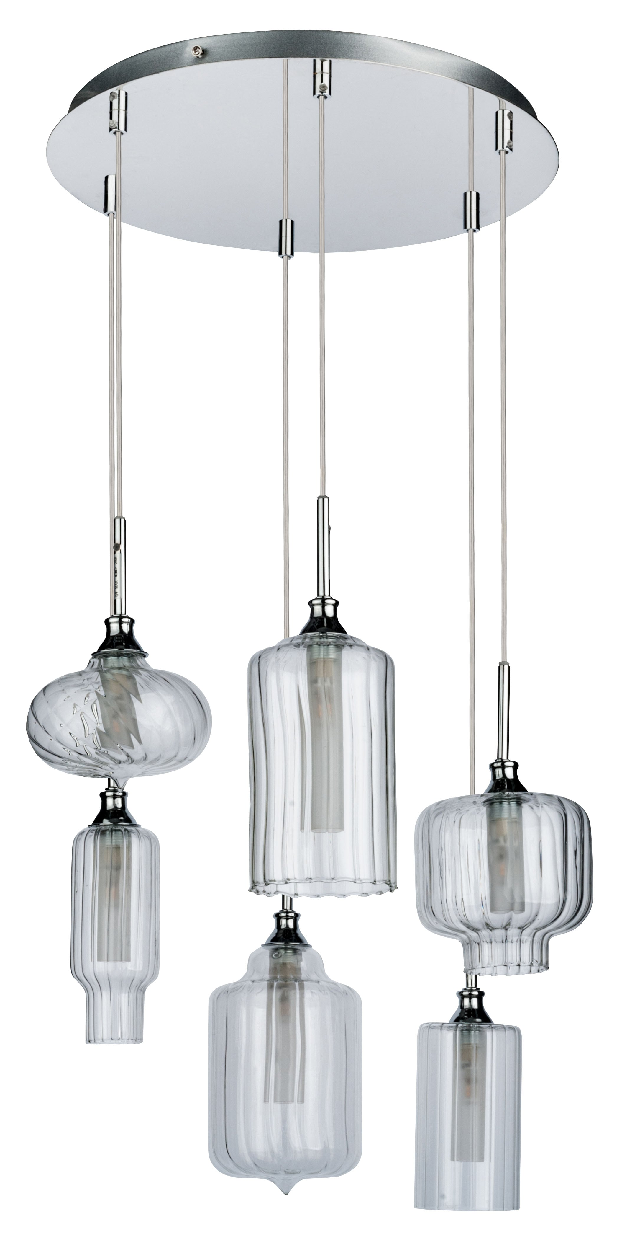 Six-point pendant lamp Larissa chrome / transparent G9 28W