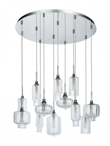 Twelve-point pendant lamp Larissa chrome / transparent G9 28W