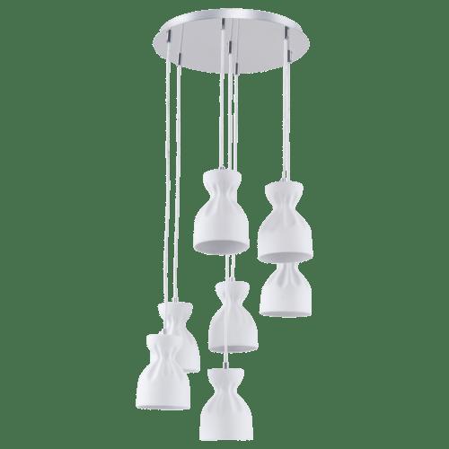 Seven-point pendant lamp in Scandinavian style Noelle chrome / white E14 40W