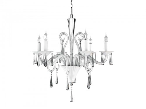 The exclusive six-point Rosano Chandelier white E14 40W