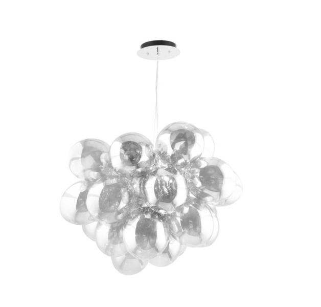Nowoczesna Lampa wisząca Grape chrome / silver / transparent G9 28W
