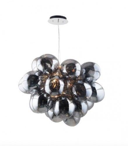 Pomysłowa Lampa wisząca Grape chrom/ szary/ transparentny G9 28W 2