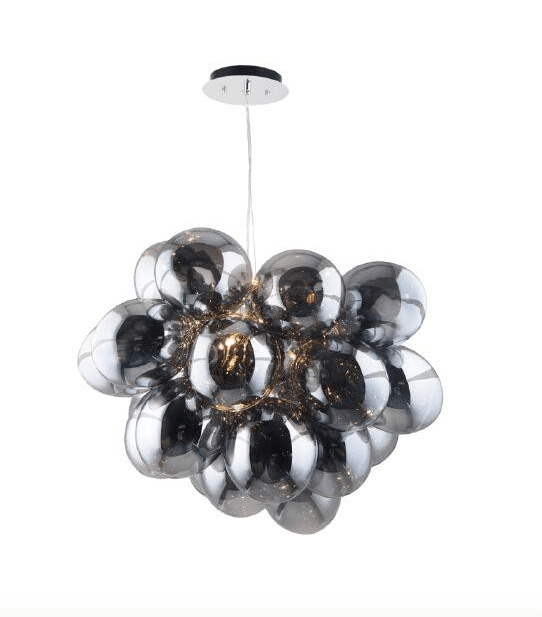 Pomysłowa Lampa wisząca Grape chrome / gray / transparent G9 28W