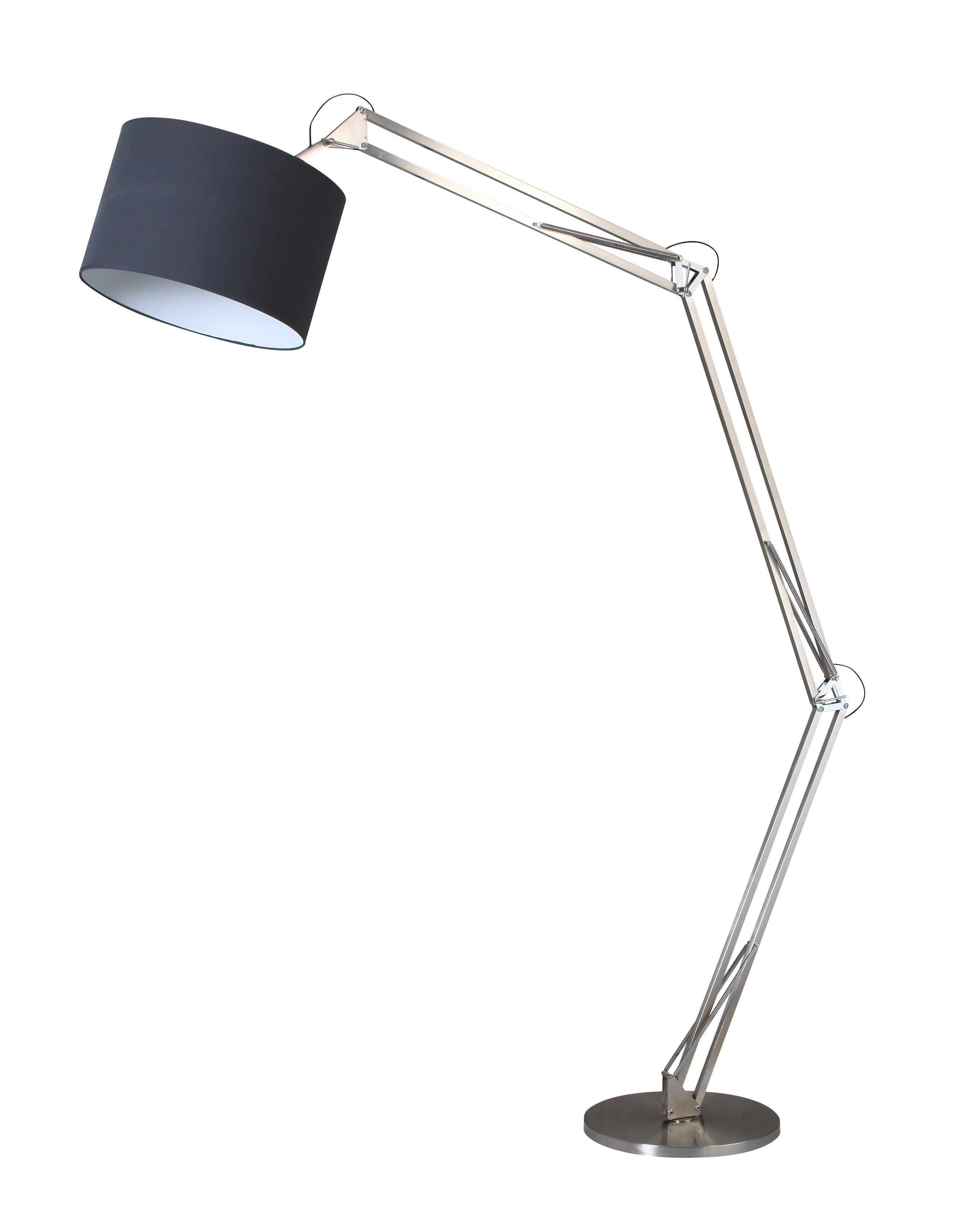 Chrome Mirani floor lamp chrome / black E27 60W