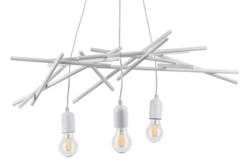 Three-point luminaire hanging lamp Glenn white E27 60W