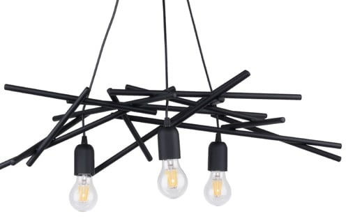 Three-point industrial hanging lamp Glenn black E27 60W