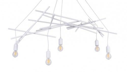 Five-point pendant lamp Glenn white E27 60W
