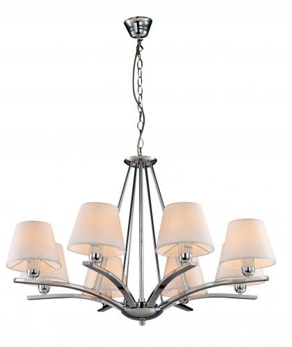 Eight-point chandelier Genova chrome / cream white E14 40W