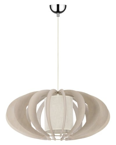 Rustykalna lampa wisząca Keiko brzoza bielona/ kremowy E27 60W