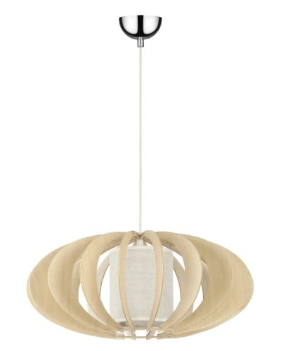 Pendant lamp Keiko birch natural / cream E27 60W