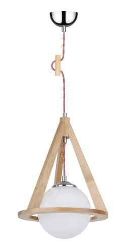 Lampa sufitowa brzoza/chrom/czerwono-biały E27 60W
