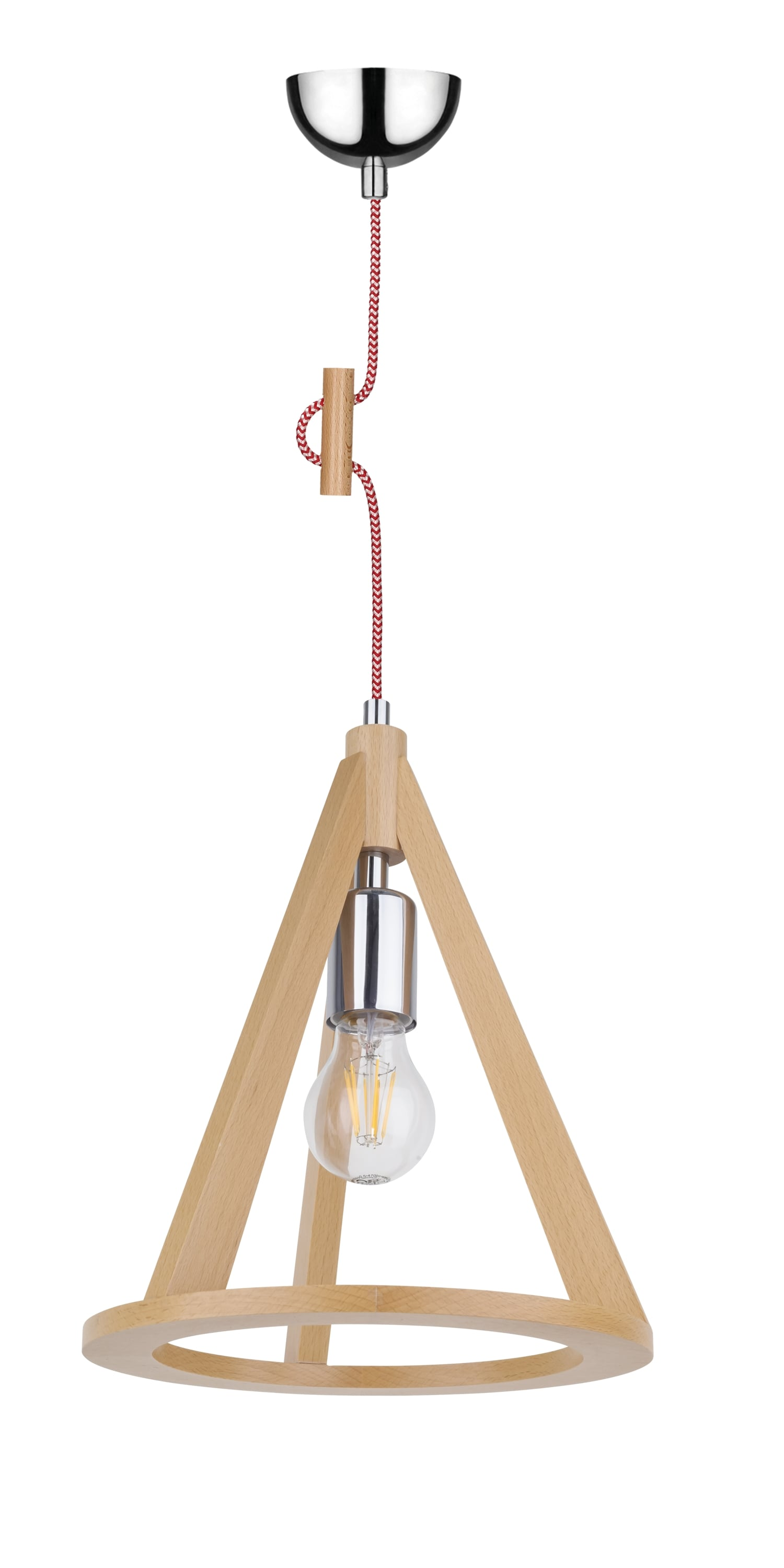 Ceiling lamp beech / chrome / red and white E27 60W