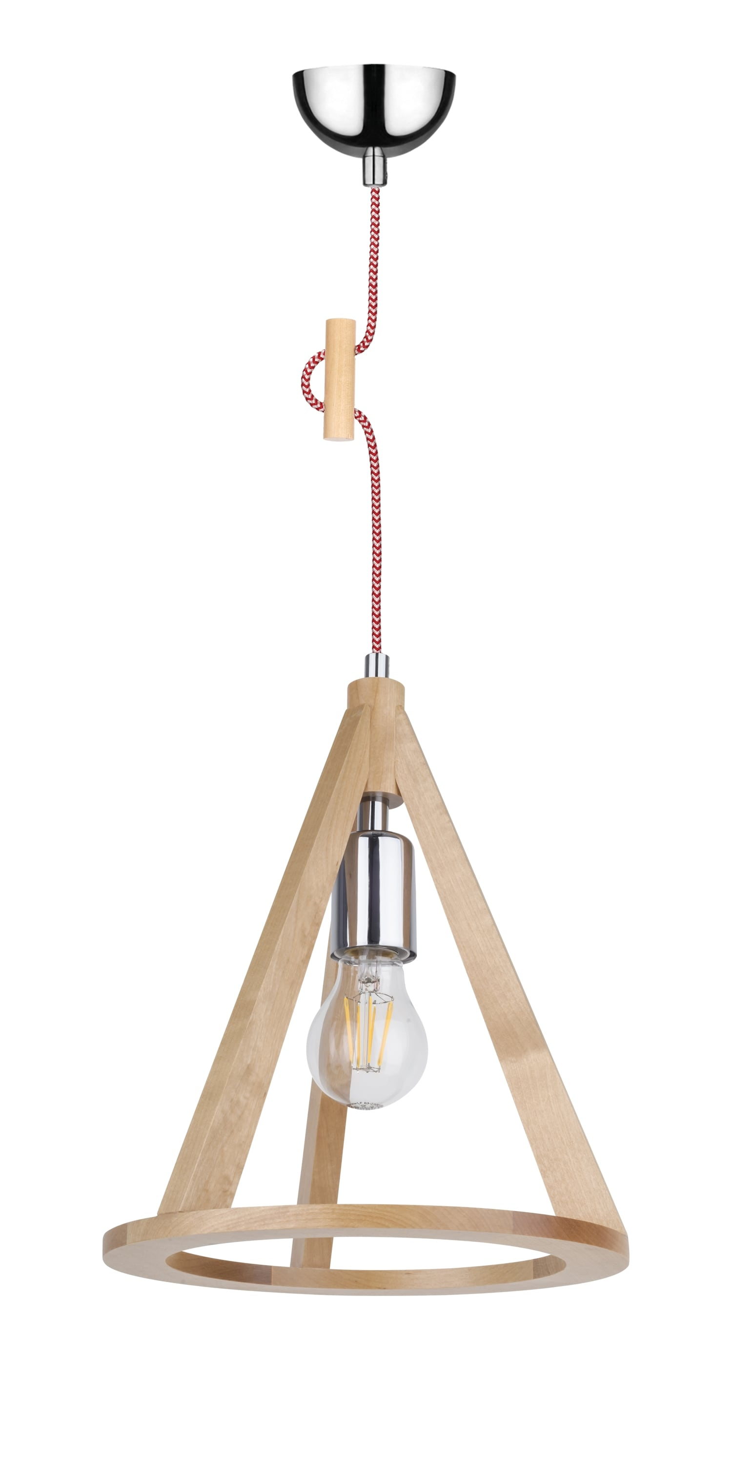 Lampa wisząca brzoza / chrom / red and white E27 60W