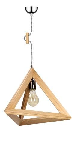 Industrialna drewniana lampa wiszaca trigonon l