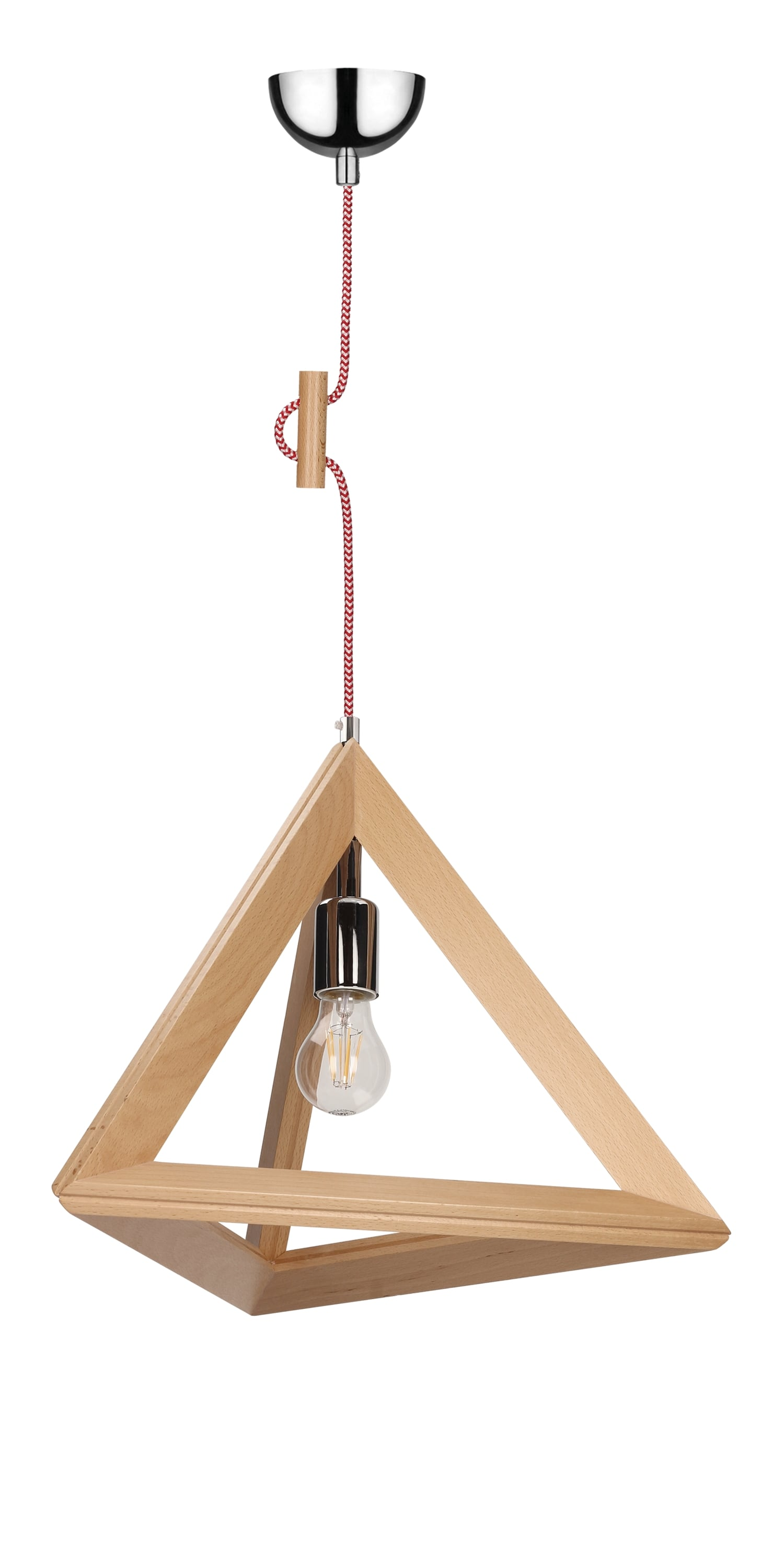 Hanging lamp Trigonon buk / chrome / red and white E27 60W