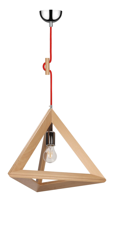 Hanging lamp Trigonon buk / chrome / red E27 60W