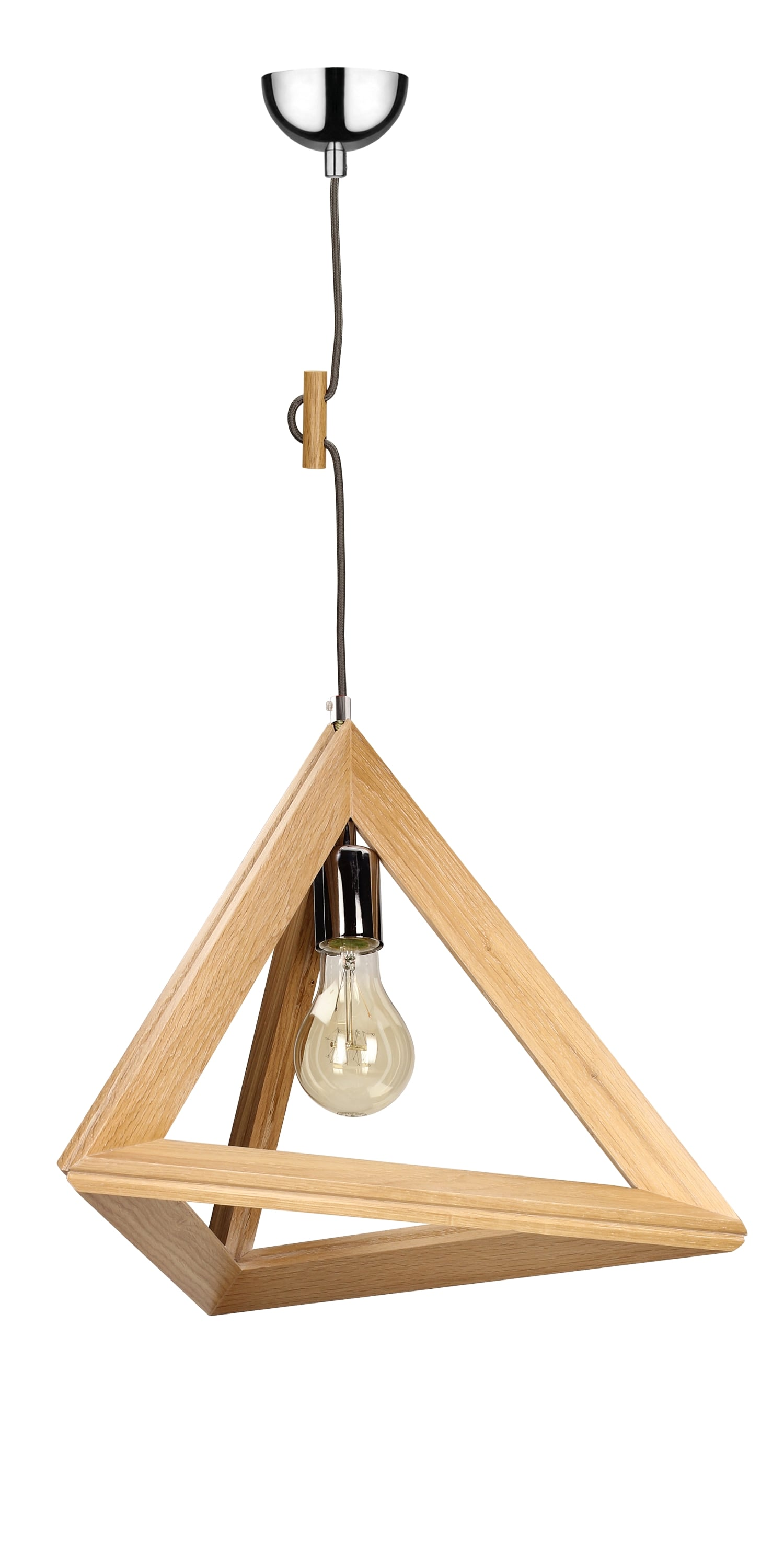 Hanging lamp Trigonon oak / chrome / red E27 60W