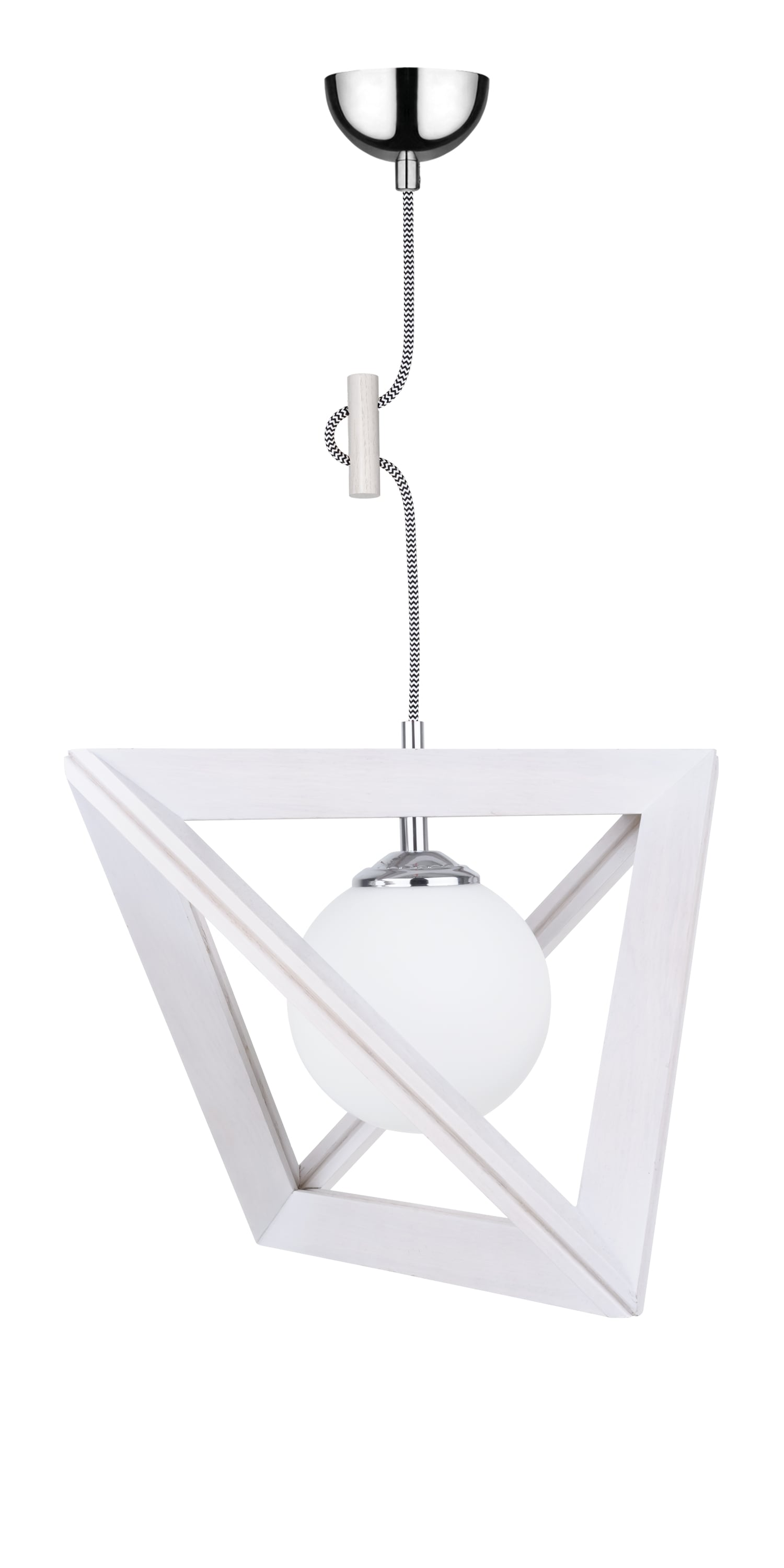 Hanging lamp Kula Trigonon dąb bielony / chrom / black and white E27 60W