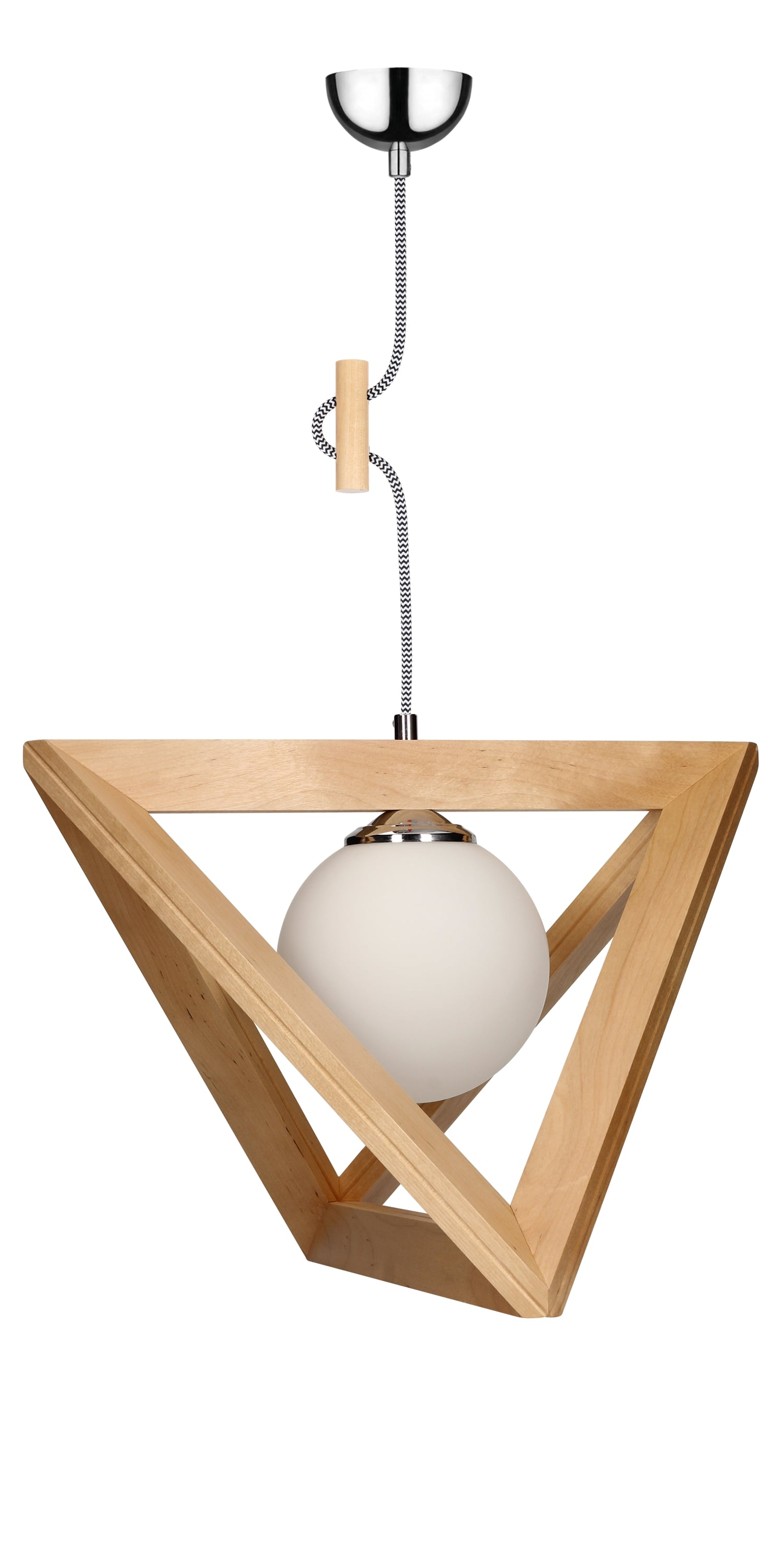Hanging lamp Trigonon brzoza / chrom / black and white E27 60W