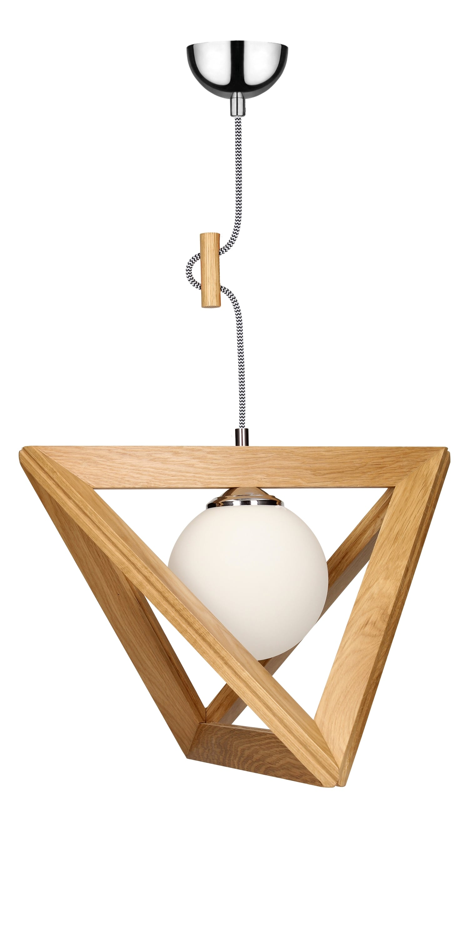 Hanging lamp Trigonon oak / chrome / black and white E27 60W
