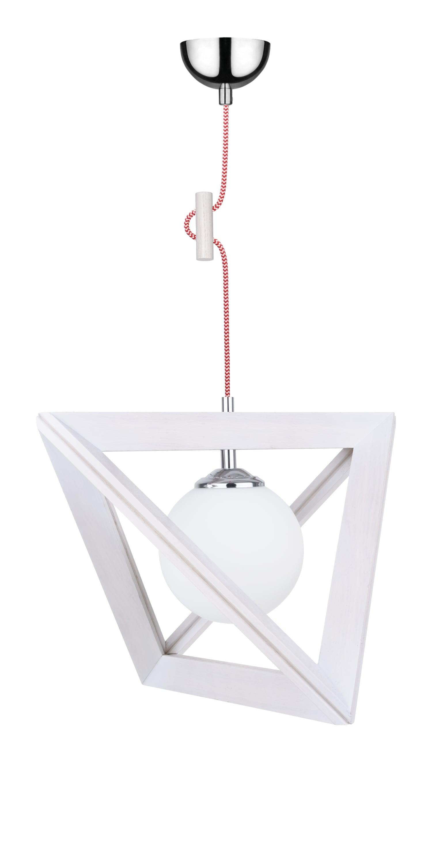Hanging lamp Trigonon dąb bielony / chrom / red and white E27 60W