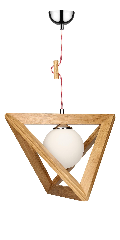 Hanging lamp Trigonon oak / chrome / red and white E27 60W