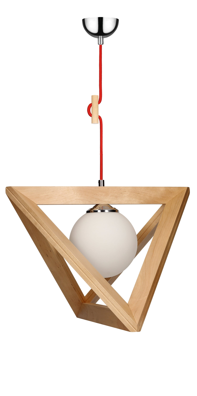 Hanging lamp Trigonon brzoza / chrom / red E27 60W