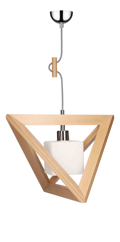 Hanging lamp Trigonon buk / chrome / black and white E27 60W