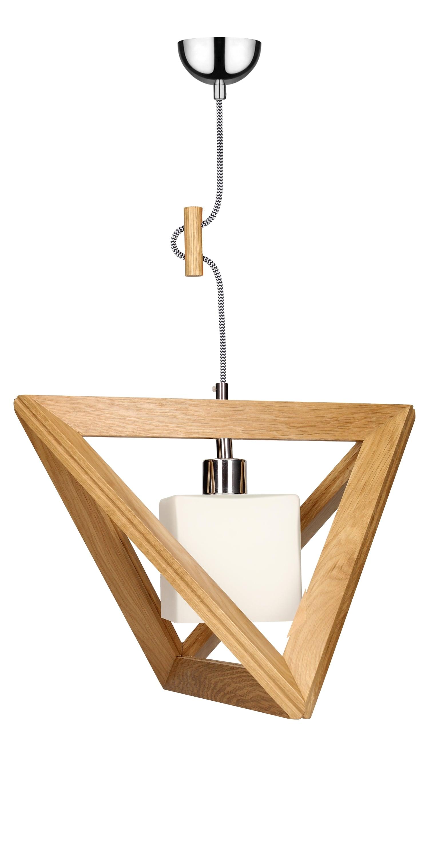 Hanging lamp Trigonon oak / chrome / black and white E27 60W