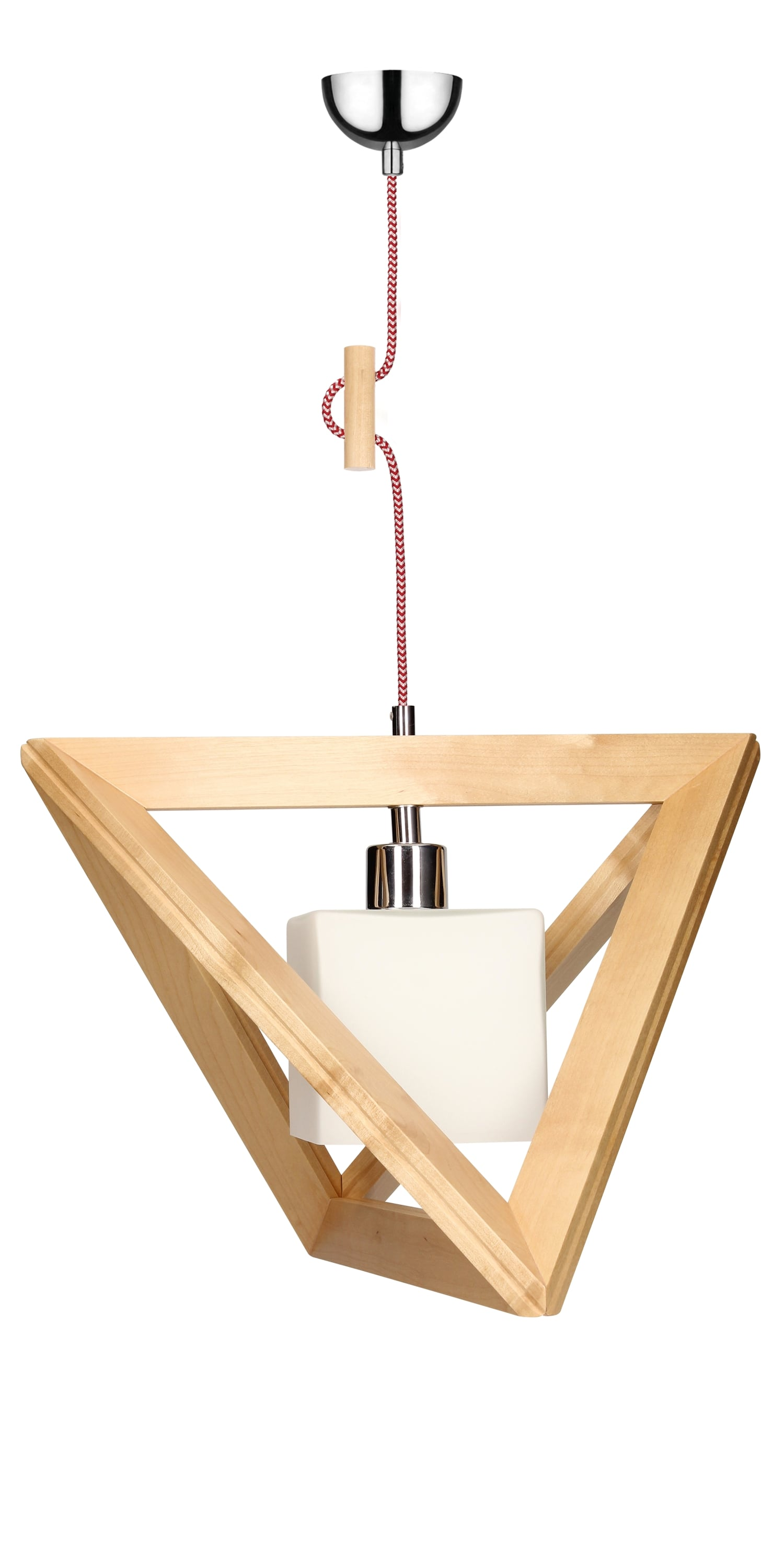 Hanging lamp Trigonon brzoza / chrom / red and white E27 60W