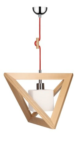 Hanging lamp Trigonon buk / chrome / red E27 60W