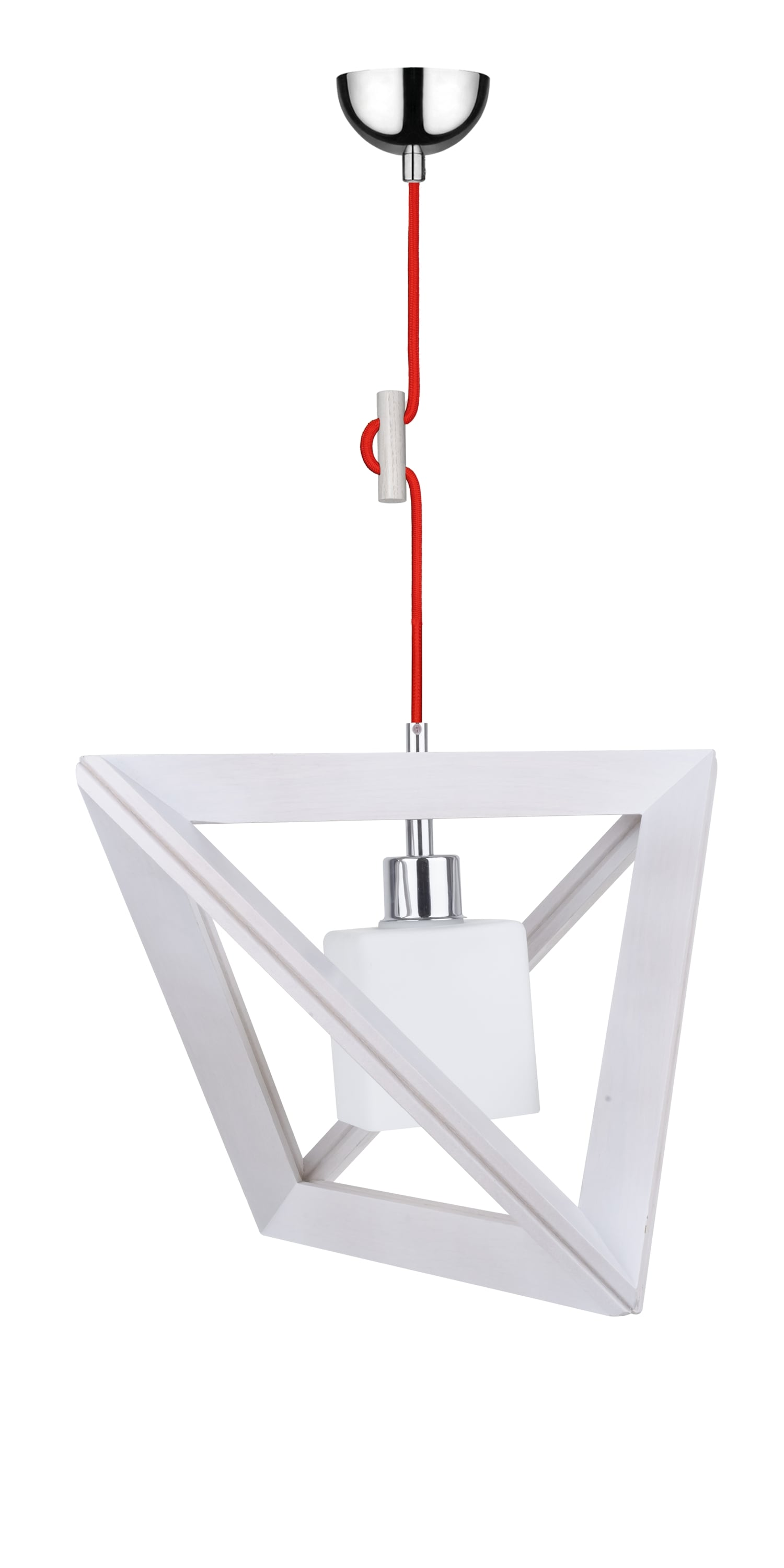 Hanging lamp Trigonon dąb bielony / chrom / red E27 60W